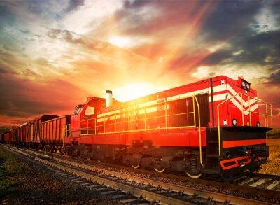 Poster treno merci nella luce del mattino