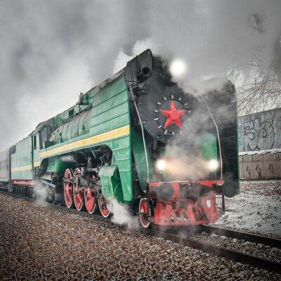 Poster Treno passeggeri retrò a vapore va veloce.