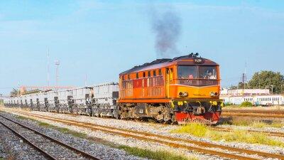 Poster treno stava partendo zavorra cortile. Thailandia - agosto 2013, Traccia dovere ballust era in partenza Ban Pachi giunzione. (Takekn da area pubblica.)