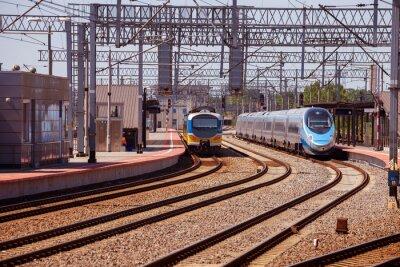 Poster Treno sulla piattaforma della stazione ferroviaria a Gdynia, in Polonia.