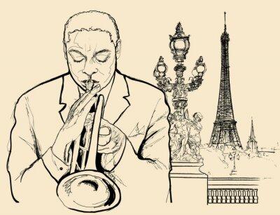 Poster trombettista jazz sul ponte di Alessandro di Parigi (disegno a penna inchiostro)