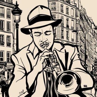 Poster trombettista su uno sfondo di paesaggio urbano