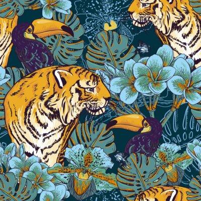 Poster Tropical sfondo trasparente floreale con Tiger