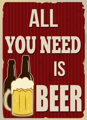 Poster Tutto ciò che serve è la birra poster retrò
