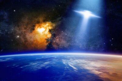 Poster Ufo si avvicina pianeta Terra