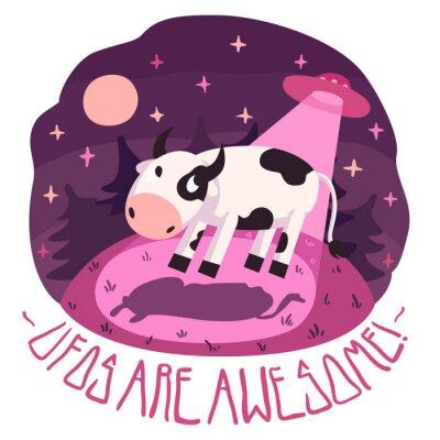 Poster UFO sono impressionanti! vector poster (sfondo e carta), con la mucca sulla collina e UFO nella notte con la luna piena e le stelle (stile cartone animato)