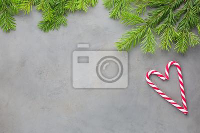 Un Cuore Di Natale Di Due Bastoncini Di Zucchero Rosso Bianco