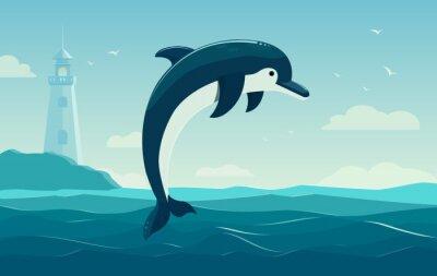 Poster Un delfino che salta, sfondo azzurro del mare con le onde e il faro. illustrazione vettoriale