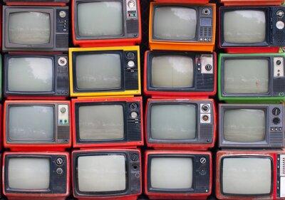Poster Un muro di vecchi televisori a tubo d'epoca