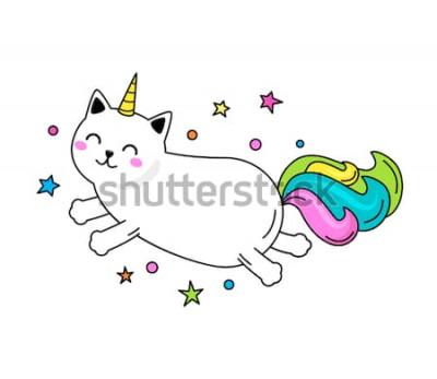 Poster Un personaggio divertente gatto unicorno salta attraverso il cielo. Illustrazione vettoriale piatta