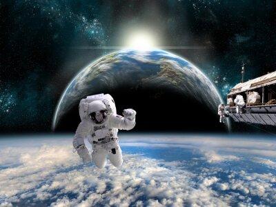 Poster Un team di astronauti lavorare su una stazione spaziale - Elementi di questa immagine fornita dalla NASA.