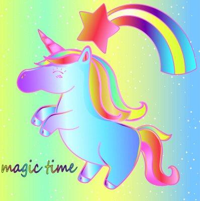 Poster Un unicorno e un arcobaleno su uno sfondo luminoso al neon è un momento magico. Brillante poster per bambini da favola