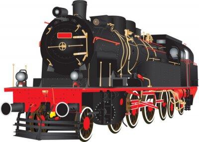 Poster Un veterano di vapore pesante Freight Railway Locomotive isolato su bianco