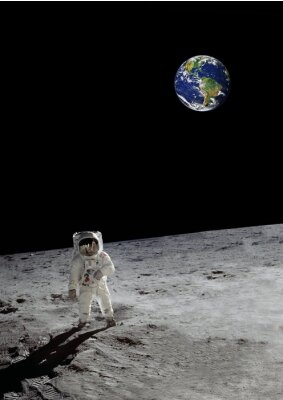 Poster una passeggiata lunare sotto la terra lucente (alcuni elementi cortesia della NASA)