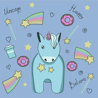 Poster Una serie di adesivi con unicorno, dolci e stelle.