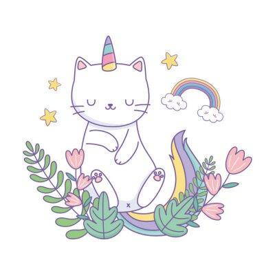 Poster Unicorn cat cartoon vector design
