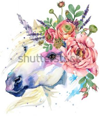 Poster unicorno. illustrazione del mazzo del fiore dell'acquerello. sfondo fantasy. cavallo bianco.