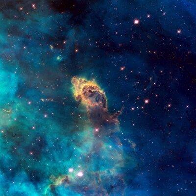 Poster Universo pieno di getto stellare, stelle, nebulose e galassie.