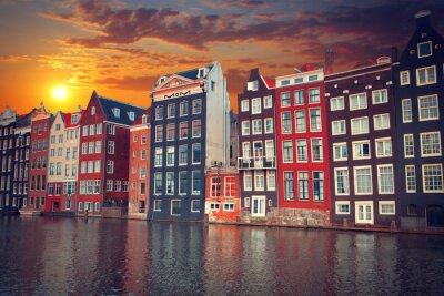 Poster uno dei più famosi città europea di Amsterdam. Il capitale o