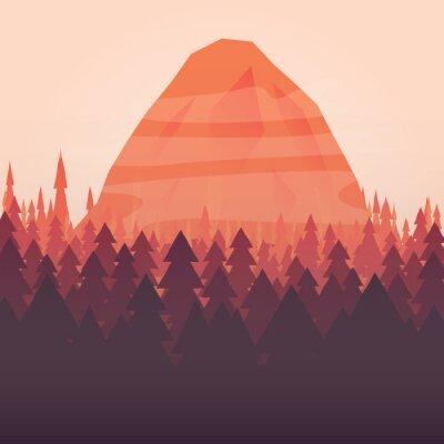 Poster Uno sfondo foresta e montagna tramonto illustrato