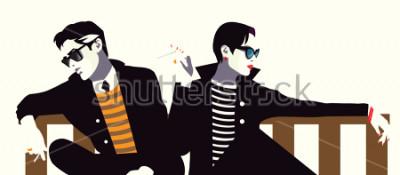 Poster Uomo alla moda e la donna in stile pop art.