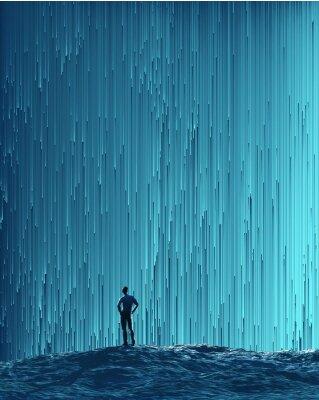 Poster uomo che guarda un flusso digitale