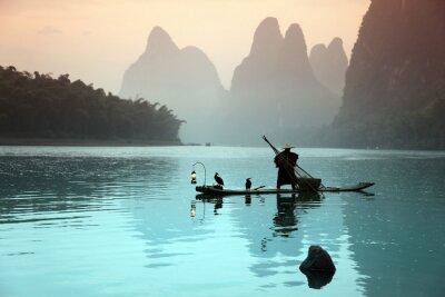 Poster Uomo cinese di pesca con i cormorani uccelli
