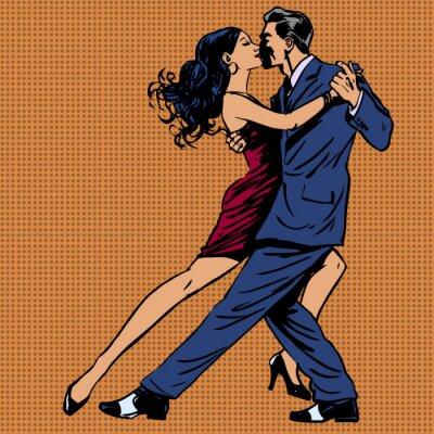 Poster uomo e donna bacio ballare il tango pop art