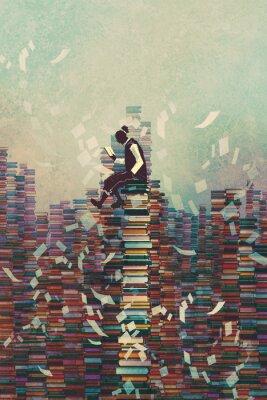 Poster uomo lettura libro mentre seduto su una pila di libri, concetto di conoscenza, illustrazione pittura