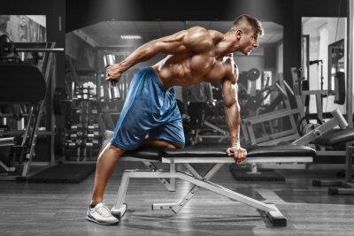 Poster Uomo muscolare di lavoro in palestra facendo esercizi con manubri a tricipiti, forte maschio abs torso nudo