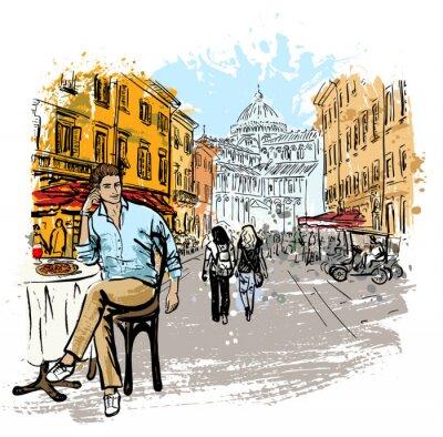 Poster uomo seduto in caffè