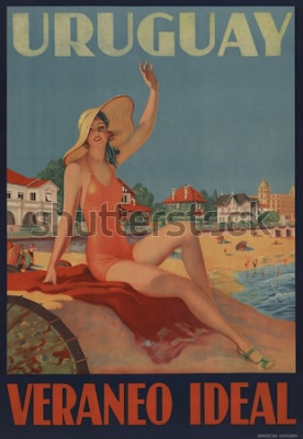 Poster Uruguay, Veraneo Ideale. Il poster di viaggio degli anni '30 mostra una bellezza balneare in spiaggia.