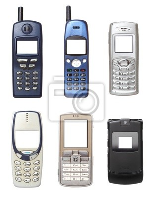 Vecchi Cellulari Insieme Isolato Su Sfondo Bianco Manifesti Da Muro
