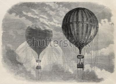 Poster Vecchia illustrazione di uno strano fenomeno ottico durante l'ascensione dell'aerostato a Parigi, 15 aprile 1868. Creato da Blanchard e Cosson-Smeeton, pubblicato su L'Illustrazione, Rivista