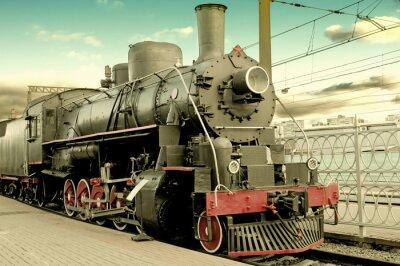 Poster Vecchia locomotiva a vapore alla stazione