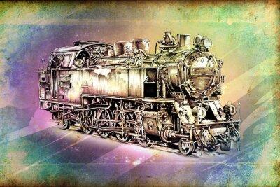 Poster vecchia locomotiva a vapore motore retrò vintage