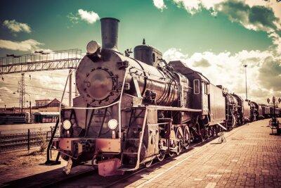 Poster Vecchia locomotiva a vapore, treno d'epoca.