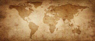 Poster Vecchia mappa del mondo su uno sfondo di pergamena antica. Stile vintage. Elementi di questa immagine forniti dalla NASA.