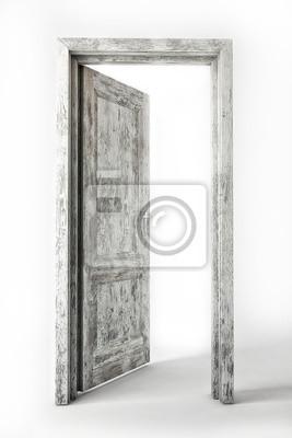 Vecchia Porta Di Legno Bianco Su Sfondo Bianco Manifesti Da Muro