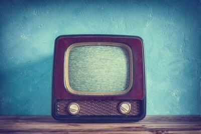 Poster Vecchia TV vintage con cassa di legno