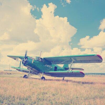 Poster vecchio aereo su erba verde