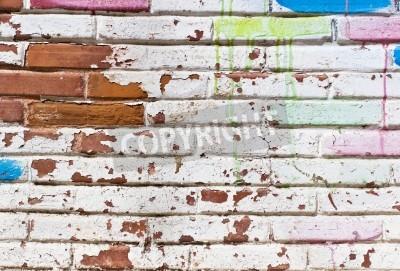 Poster Vecchio muro pieno di graffiti