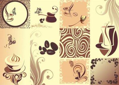 Poster Vector caffè backgroundwith farfalla