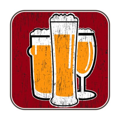 Poster vector coaster with different beer glasses with scratch