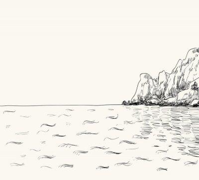 Poster Vector estate paesaggio marino schizzo. Vista sul mare e montagna