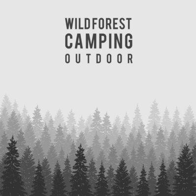 Poster Vector foresta di conifere selvaggia sfondo. modello di progettazione campeggio esterno