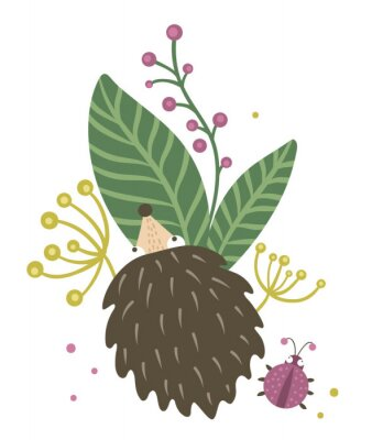 Poster Vector hand drawn flat hedgehog with berries, leaves and ladybug clip art. Funny autumn scene with prickly animal having fun. Cute woodland animalistic illustration for children's design, print