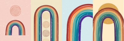 Poster Vector illustration. Abstract poster set. Contemporary backgrounds. Colorful rainbow. Design elements for book cover, page template, print, card, brochure, magazine, poster. 60s, 70s retro graphic
