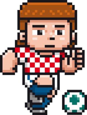 Poster Vector illustration of Cartoon Soccer player - Pixel design