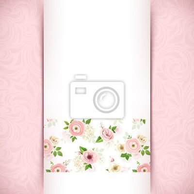 Poster Vector Invito Bianco Carta Con Fiori Su Sfondo Rosa Floreale